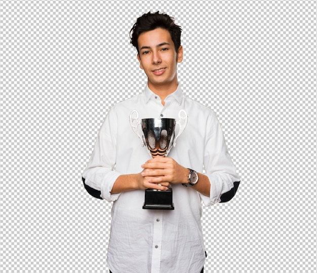 Teenager holding a trophy