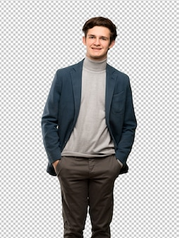 Teenager man with turtleneck laughing looking to the front