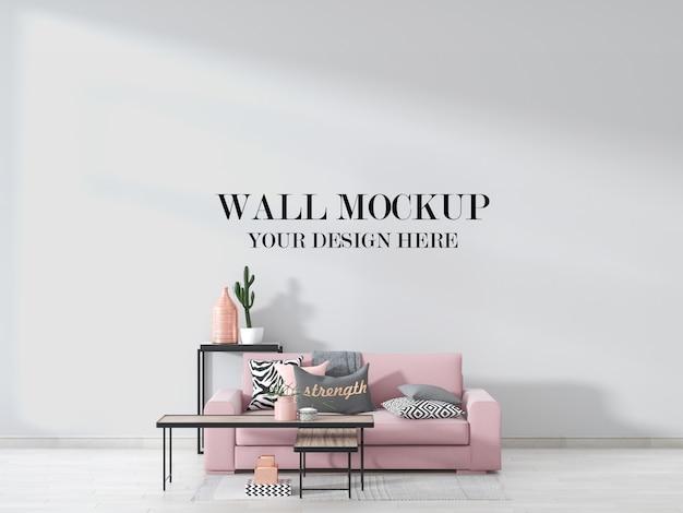 Макет стены подростковой комнаты с розовым диваном и мебелью в интерьере