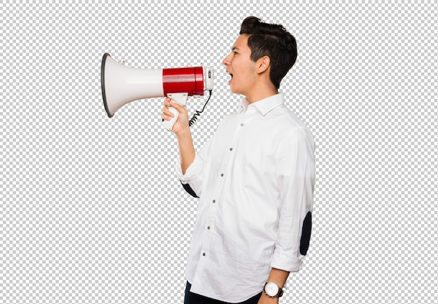 Teenager shouting on a megaphone