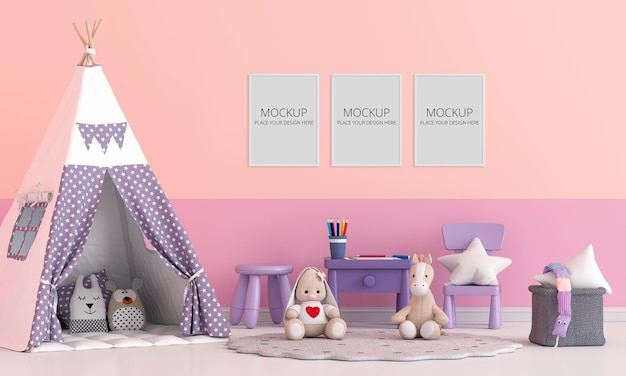 Teepee with doll in children room with frame