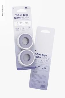 Teflon tape blisters mockup, floating