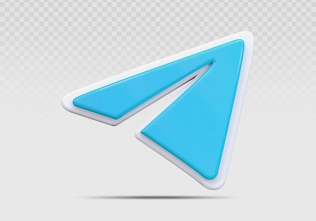 Телеграмма 3d значок визуализации концепции творческого
