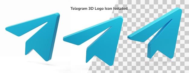 Telegram 3d logo icon isolated in 3d rendering