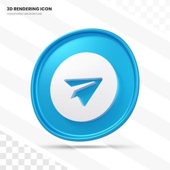 Телеграмма 3d рендеринга значок