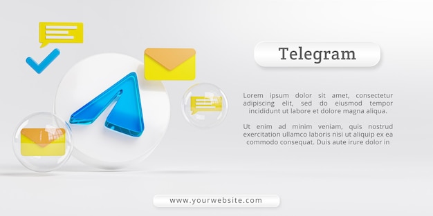 Telegram acrylic glass logo and messaging icons