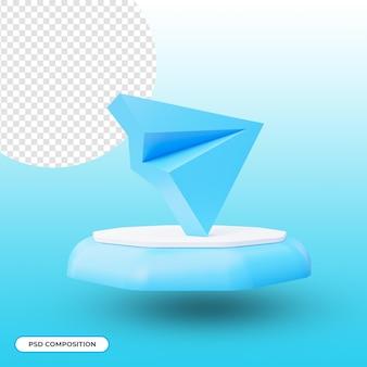 Значок приложения telegram изолирован в 3d-рендеринге