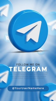 Telegram glossy logo and social media icons story