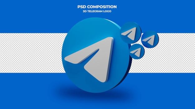 Значок телеграммы 3d визуализации изолированные