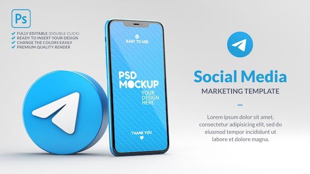 전화 모형 3d 렌더링이있는 전보 아이콘