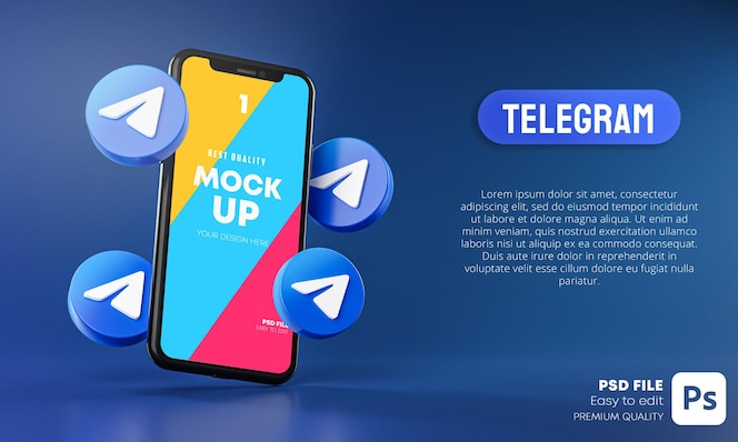 Telegram icons around smartphone app mockup 3d