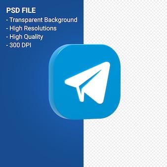 Telegram логотип 3d рендеринг иконок