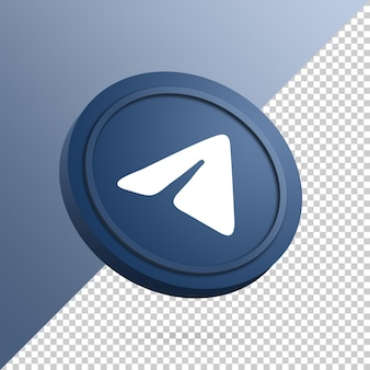 Telegram logo on the round button 3d rendering isolated