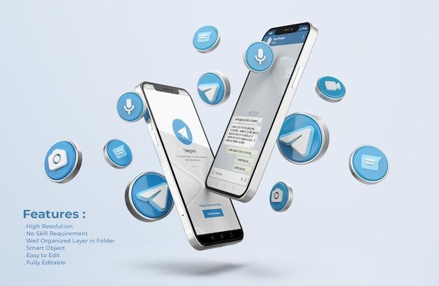 Telegram на серебряном макете мобильного телефона