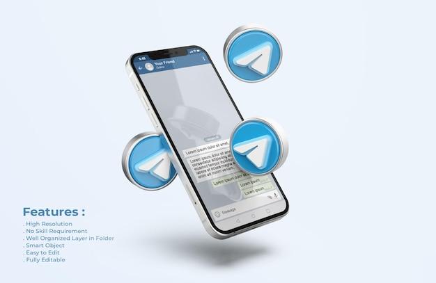 Telegram on silver mobile phone mockup