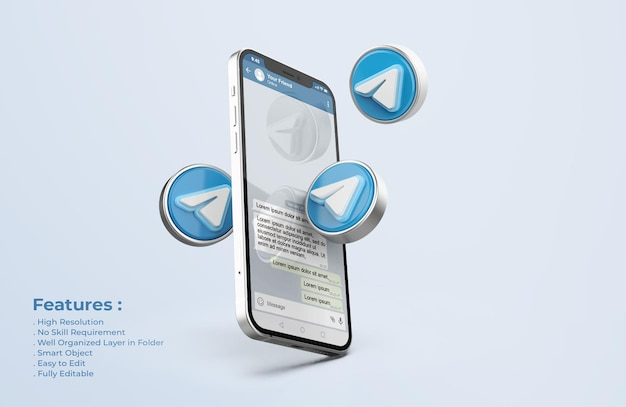 Telegram su silver mobile phone mockup