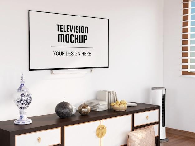 リビングルームのテレビモックアップ