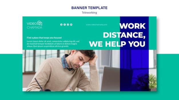 Teleworking banner template concept