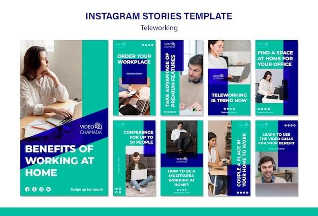 Teleworking instagram stories template