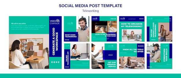 Teleworking social media post template