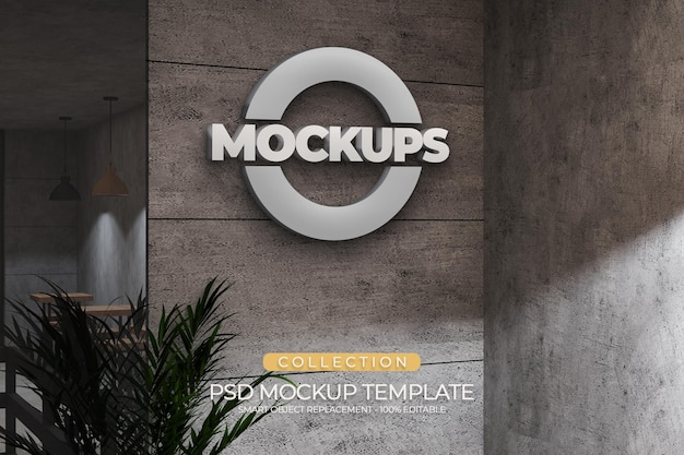 Template 3d logo mockups style acrilic emboss with industrial concept design