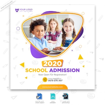 Template for back to school admission for social media post