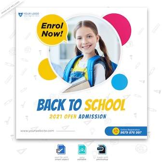 Template for back to school admission for social media post Premium Psd