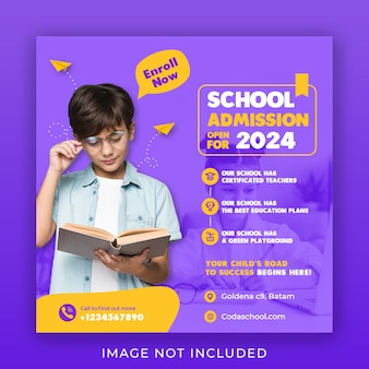Template for back to school admission on social media