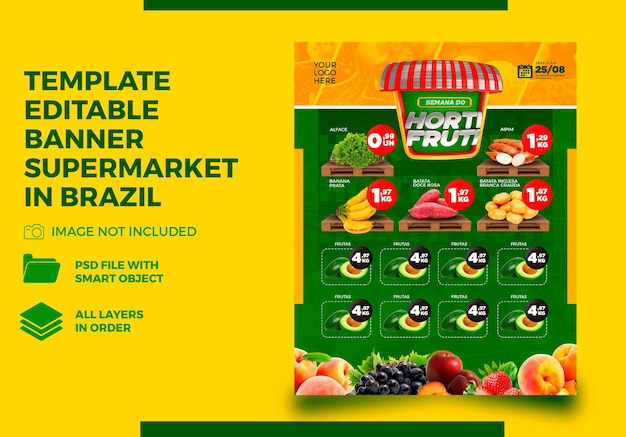 Template banner hortifruti for supermarket composition