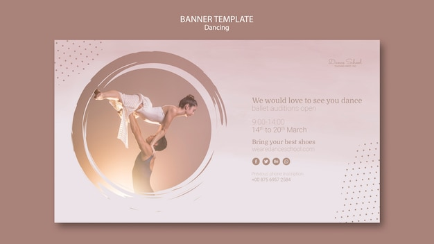 Template for banner with dancing performers