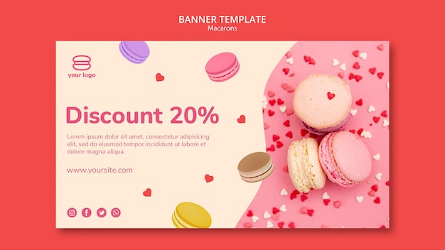 Template for banner with macarons