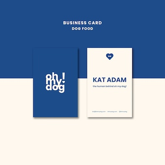 Template for business card with dog food design