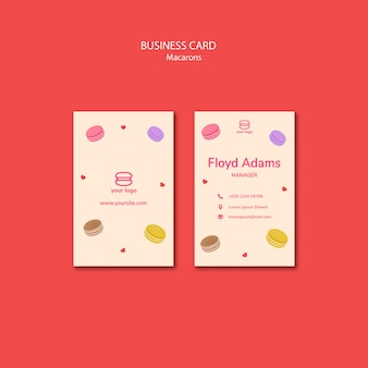 Template for business card with macarons