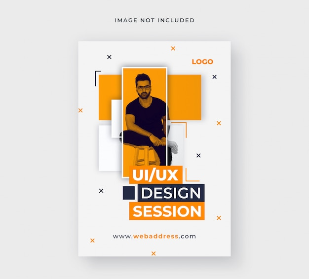 Template of business flyer for social media post