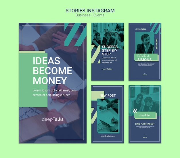Template concept for business event instagram stories