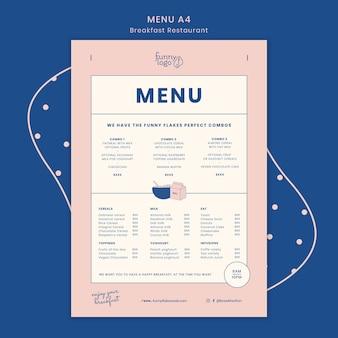 Template concept for restaurant menu