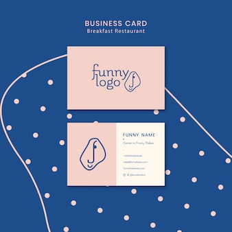 Template design for restaurant business card