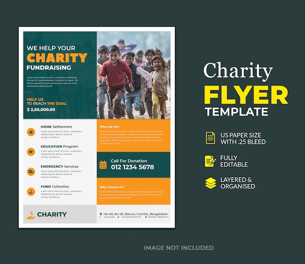 Template of donation charity flyer