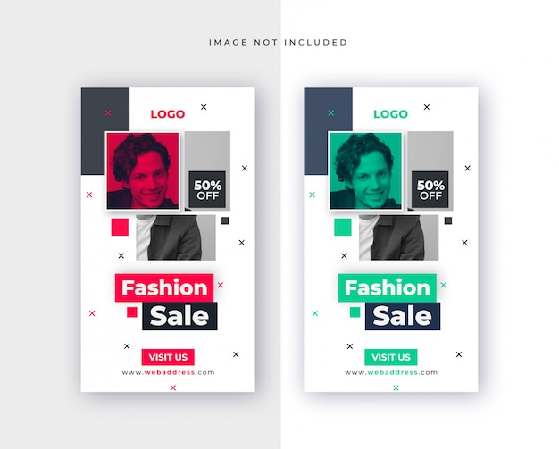 Template for fashion sale for social media post
