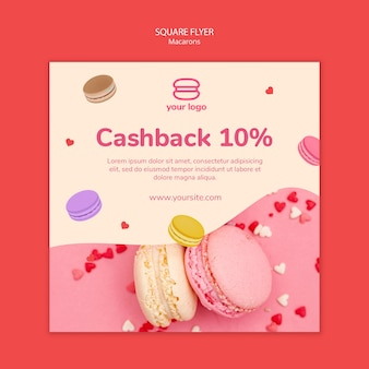 Template for flyer with macarons