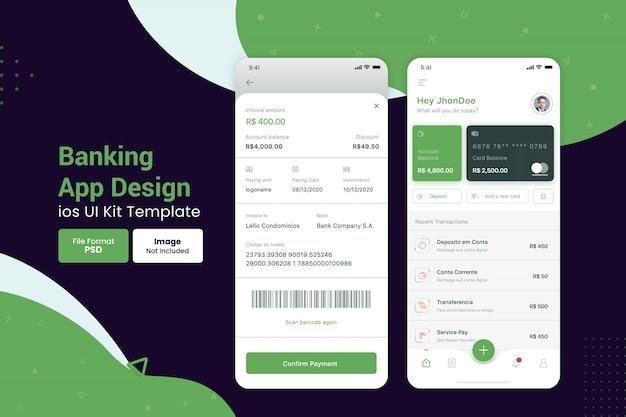 뱅킹 앱 디자인 인터페이스를위한 템플릿