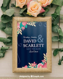 Template, frame, flowers and leaves