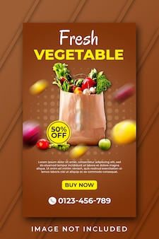 Template for fresh vegetable sale for social post