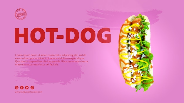 Template hot dog advertisement with photo