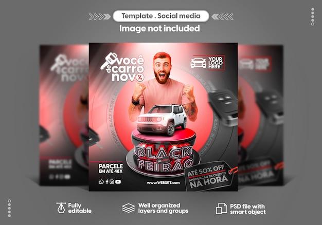 Шаблон в португальских социальных сетях instagram черная ярмарка предлагает продажу автомобилей и продвижение товаров