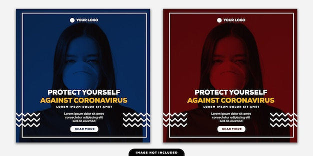 Template instagram post banner protect yourself against coronavirus duotone red and blue