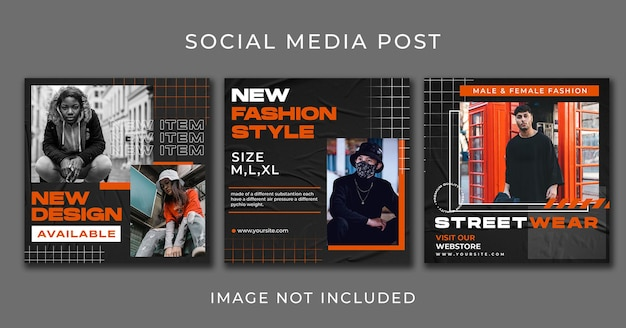 Template of instagram post streetwear fashion collection set
