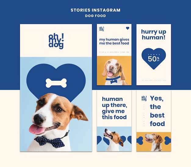 Template for instagram stories with dog food