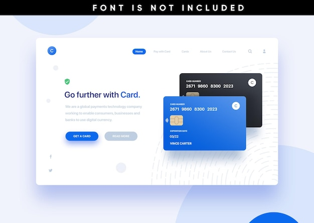 Template landing page website credit card