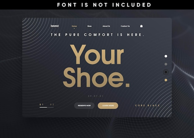 Template landing page website shoes